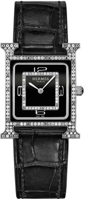 Hermes Heure H Watch, 18K White Gold & Alligator Strap