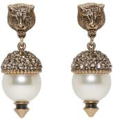 Gucci Gold Feline Pearl Earrings