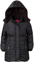 Pink Platinum Black Quilted Puffer Coat - Toddler & Girls
