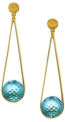 Dean Davidson Ipanema 22K Goldplated & Blue Topaz Open Teardrop Earrings