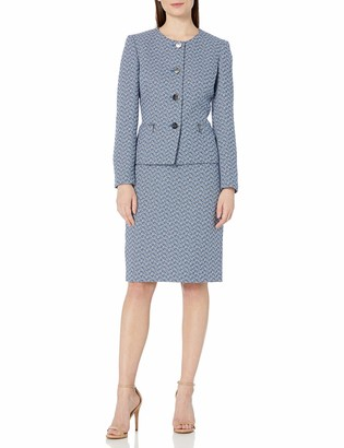 Le Suit LeSuit Women's Plus Size 4 Button Jewel Neck Chevron Zipper Pocket Tweed Skirt Suit