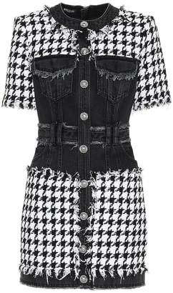 Balmain Denim and tweed dress