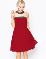 Little Mistress Halterneck Skater Dress with Embellished Trim