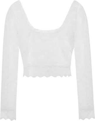 Dundas Cropped Chantilly Lace Top