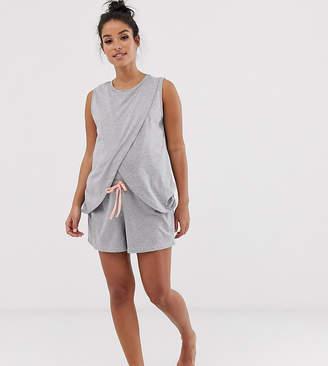 Asos DESIGN Maternity exclusive nursing wrap pyjama short set