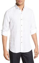 Stone Rose Men's Trim Fit Long Sleeve Linen Sport Shirt