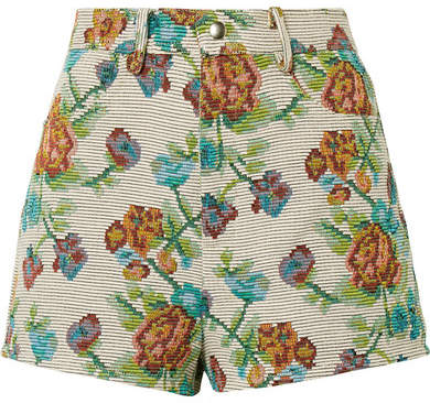 Anna Sui Dark Side Of The Moon Cotton-blend Jacquard Shorts - Green
