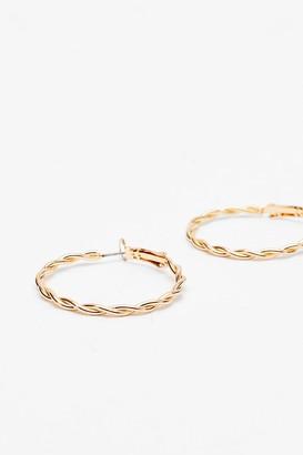 Nasty Gal Womens Twist Hoop Earrings - Gold