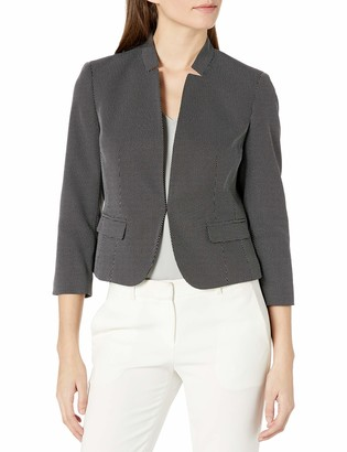 Kasper Women's Petite 3/4 Sleeve PIN DOT Cut Out Collar Kissing Jacket
