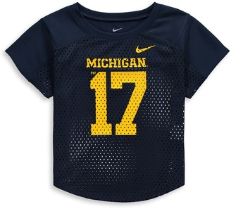 Nike Girls Youth Navy Michigan Wolverines Mod Fan Number T-Shirt