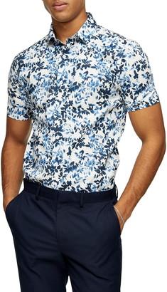 Topman Blur Floral Slim Fit Short Sleeve Button-Up Shirt