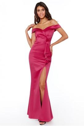 Linzi Goddiva Bardot Maxi Dress with Bow Detail - Cerise