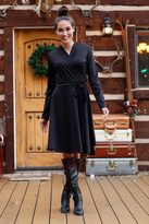 Shabby Apple Black Wreath Wrap Dress
