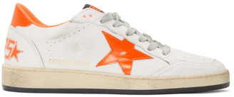 Golden Goose White and Orange Ball Star Sneakers