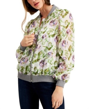 INC International Concepts Inc Petite Floral-Print Bomber Jacket, Created for Macy's