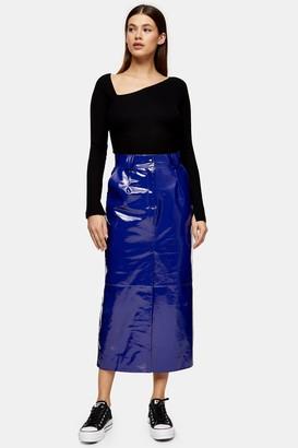 Topshop Womens **Cobalt Blue Vinyl Leather Skirt By Cobalt