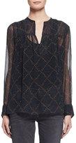 Isabel Marant Bowtie Long-Sleeve Patterned Silk Tunic, Black