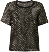 Saint Laurent embroidered top - women - Silk/Metallic Fibre - 36