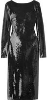 Tom Ford Open-back Sequined Satin Dress - Black