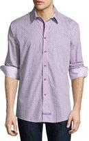 English Laundry Diamond-Print Sport Shirt, Purple