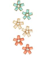 Carole Pastel & Goldtone Flower Stud Earrings Set