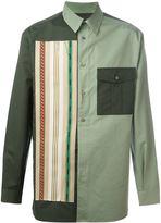 Ports 1961 striped appliqué colour block shirt