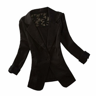 waitFOR Sale Women Business Blazer Back Lace Embroidery Solid Color Formal Jacket Office Lady Long Sleeve Fitness Cardigan Office Wear Women Blouse Tops Black