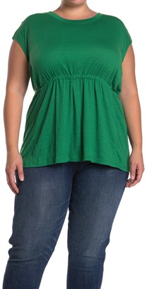 Max Studio Striped Crinkled Jersey T-Shirt (Plus Size)