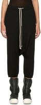 Rick Owens Black Cropped Drawstring Lounge Pants