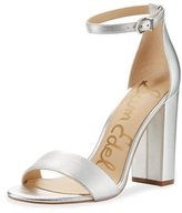 Sam Edelman Yaro Metallic Block-Heel Sandal, Silver