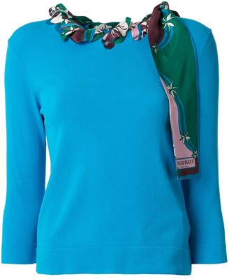 Emilio Pucci Long-Sleeved Woven Scarf Top