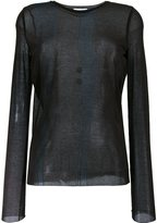 Nina Ricci sheer longsleeved T-shirt - women - Cotton/Polyamide - S