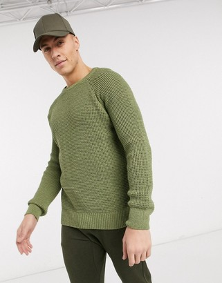 New Look raglan tuck stitch jumper in khaki