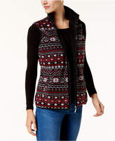 Karen Scott Petite Printed Fleece Vest, Created for Macy's