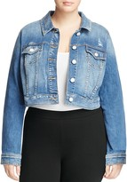 SLINK Jeans Labria Distressed Cropped Jean Jacket in Medium Blue