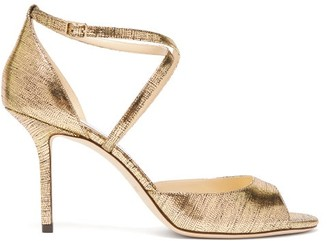 Jimmy Choo Emsy 85 Metallic-leather Sandals - Womens - Gold