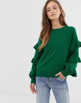 J.Crew Mercantile ruffle sleeve knit jumper-Green