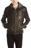 Levi's Men's Faux-Leather Two-Pocket Trucker Hoodie Jacket with Sherpa Lining