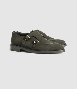 Reiss Jake - Suede Monk Strap Shoes in Green
