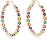 Alison Lou Emerald, ruby, sapphire & gold Twister earrings