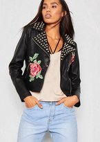 Missy Empire Luna Black Faux Leather Studded Embroidered Biker Jacket