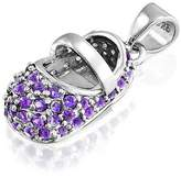 Bling Jewelry 925 Silver Baby Shoe Charm Simulated Amethyst CZ