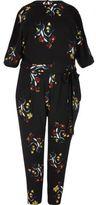 River Island Womens Plus black floral print jumpsuit