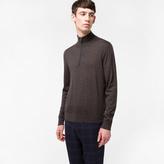 Paul Smith Men's Dark Brown Merino-Wool Half-Zip Sweater