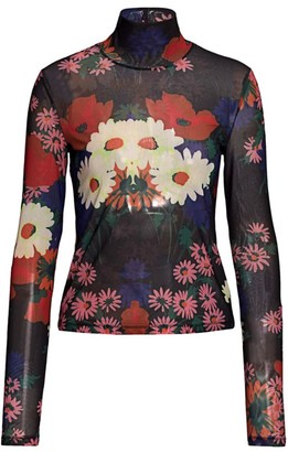 STAUD Helvin Floral Mesh Turtleneck Top
