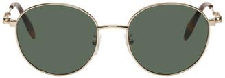 Alexander McQueen Gold Oval Metal Piercing Sunglasses