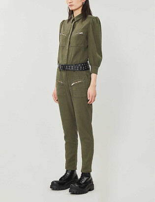 The Kooples Straight-leg stretch linen-blend jumpsuit