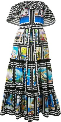 Mary Katrantzou Cannes postage stamp print dress