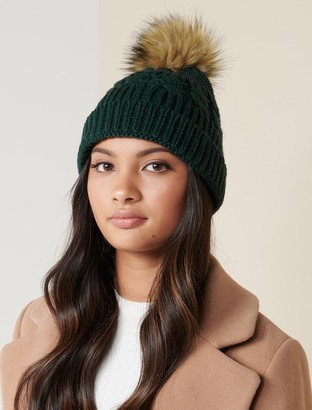 Forever New Brianna Faux Fur Pom Beanie - Green - 00