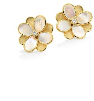 Marco Bicego Petali 18K Gold, Diamond & Mother-Of-Pearl Small Flower Stud Earrings